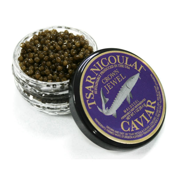 Tsar Nicoulai Caviar - 100% American White Sturgeon, Crown Jewel, 1oz (28g)