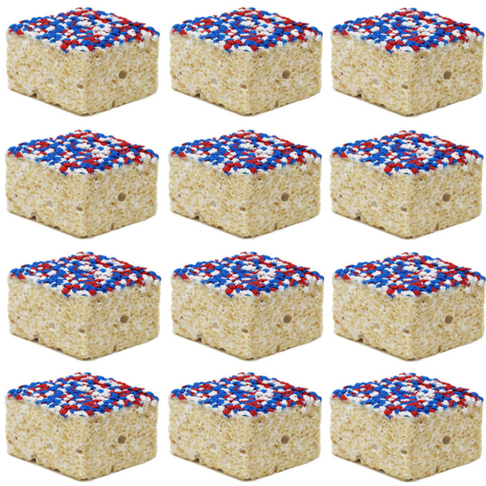 The Crispery - Handmade Marshmallow Rice Crispy Treats, 6oz (Red, White & Blue Star Sprinkles)