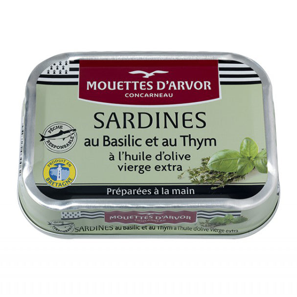 Mouettes d'Arvor - Sardines with Basil and Thyme, 115g (4.1 oz)
