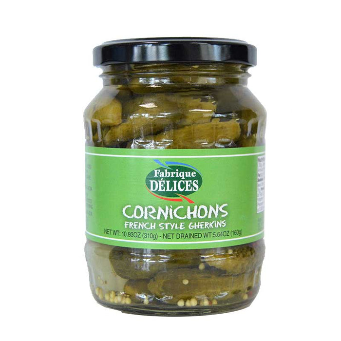 Delices - Cornichons French Style Pickles in Glass Jar, 10.9oz