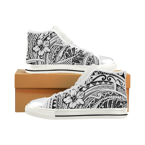 Tribal Hibiscus womens Hi tops Women's Classic High Top Canvas Shoes (Model 017) - Hawaiian Attitude