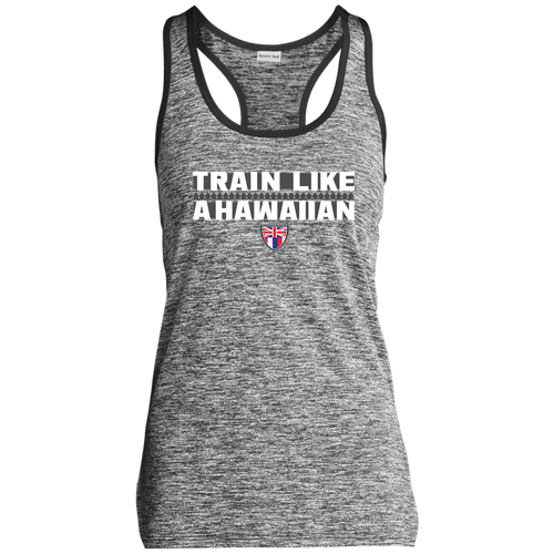 Train Like a Hawaiian Ladies Electric Heather Racerback. - Hawaiian Attitude