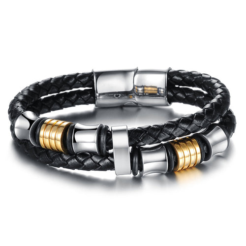 Men's Leather Bangles Genuine PU Wristband