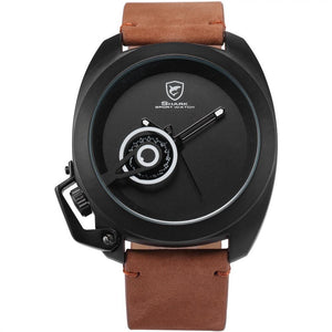 Tawny Shark Luxury Brand Brown Leather Strap Men's Military Wristwatches