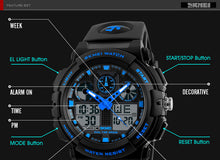 SKMEI Digital Dual Time Display Men's Sports Wristwatches  (Digital Double Time Chronograph, Waterproof)