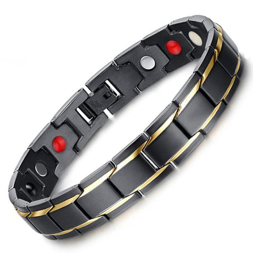 Hottime Health Energy Men's Bracelet Bangle Black & Golden Stainless Steel