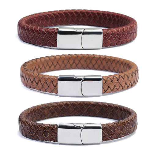 2018 New Men's Red Brown Black 100% Genuine Braided Leather Wrap Bracelet/Stainless Steel Magnet