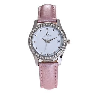 Women's Retro Quartz Wrist Watch w/Leather Band (pink, white, black)