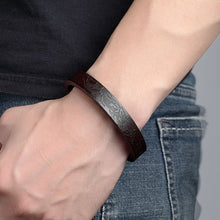 Janeyacy 2018 Men  Genuine Leather Bracelet (Black or Brown) Stainless Steel Magnetic Buckle