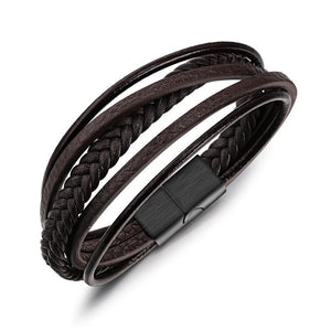 Men's Leather Bracelet/Large Black buckle & Brown Weave/Arm Bangle