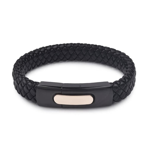 Jiayiqi Exquisite Men's Black Braided Genuine Leather Bracelet/ Stainless Steel Clasp Wristband