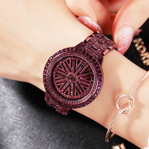 Women Big Diamond Stainless Steel Quartz  Watch