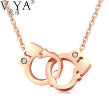 Women Handcuffs Pendant Necklaces Jewelry Silver Rose Gold Color - KMAshopstore