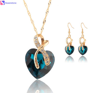 Gold Jewelry For Women Crystal Heart Necklace Earrings Jewellery Set Bridal Wedding Accessories 2016 - KMAshopstore