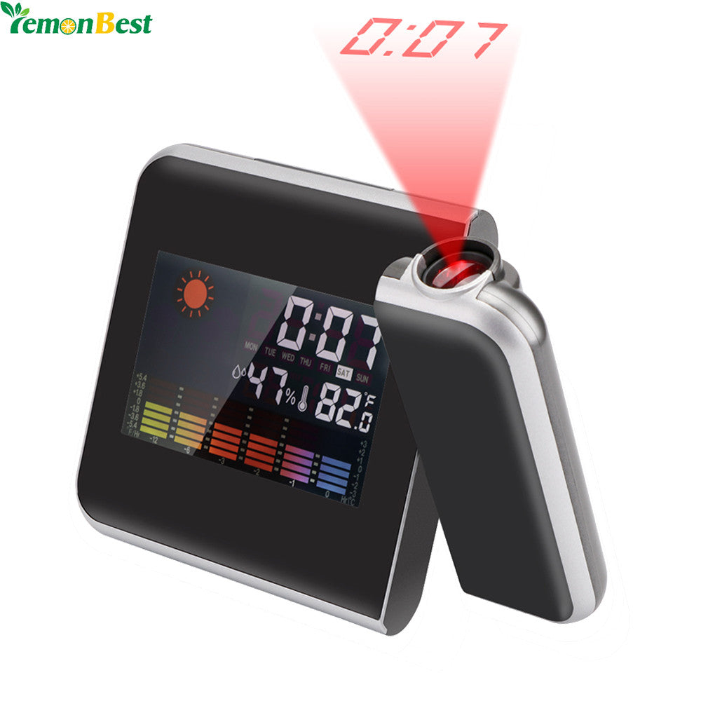 Square Digital LED Projection Alarm Clock Forecast Weather Desk Clock LCD Display With Backlight Thermometer 12/24 Hours - KMAshopstore