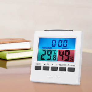 Digital Thermometer Hygrometer Temperature Humidity Meter Weather Station Clock with Backlight Snooze Alarm Clock Measurement - KMAshopstore