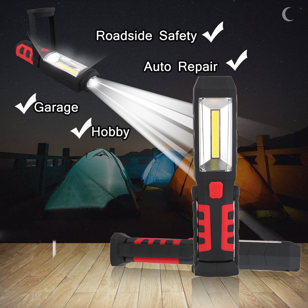 COB+LED Rechargeable Work Light Magnet Flashlight with Hook Folding Torch Lamp - KMAshopstore