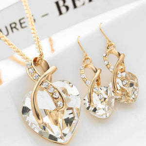 Fashion Jewelry Sets For Women Crystal Heart Necklace Earring - KMAshopstore