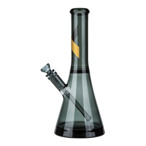 SMOKED GLASS WATER PIPE W/GOLD STRIPE DECAL