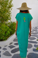Embroidered Maxi Dress with Short Sleeves - Teal Green