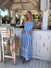 Alice Dress Long - Ice Blue Stripe