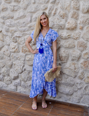 Maxi Wrap Dress - Blue Tropical