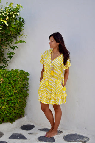 Izzy Dress - Yellow Wide Stripe
