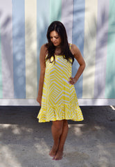 Annie Dress Short - Yellow Wide Stripe