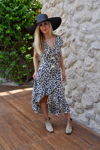 Maxi Wrap Dress - Cream Leopard