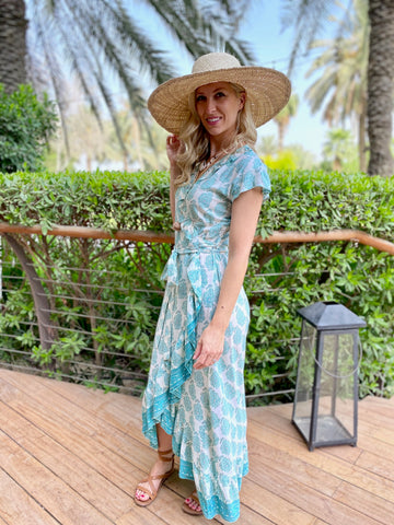 Maxi Wrap Dress - Mint Paisley