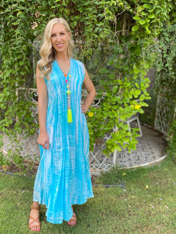 Bella Dress - Turquoise Tie Dye