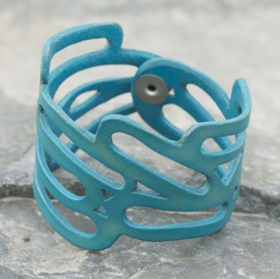 Leather Cuff - Teal
