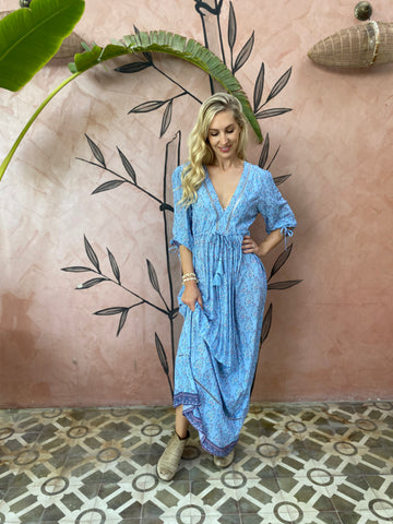 Boho Maxi Dress- Blue Paisley