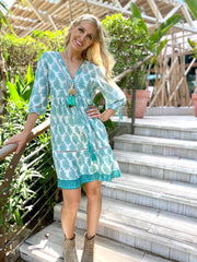 Boho Dress Short - Antique Mint Paisley