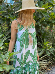 Sofia Dress - Bright Green Palm