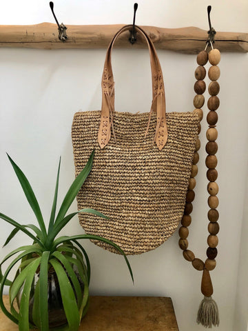 Raffia Tote Leather Handle - Natural