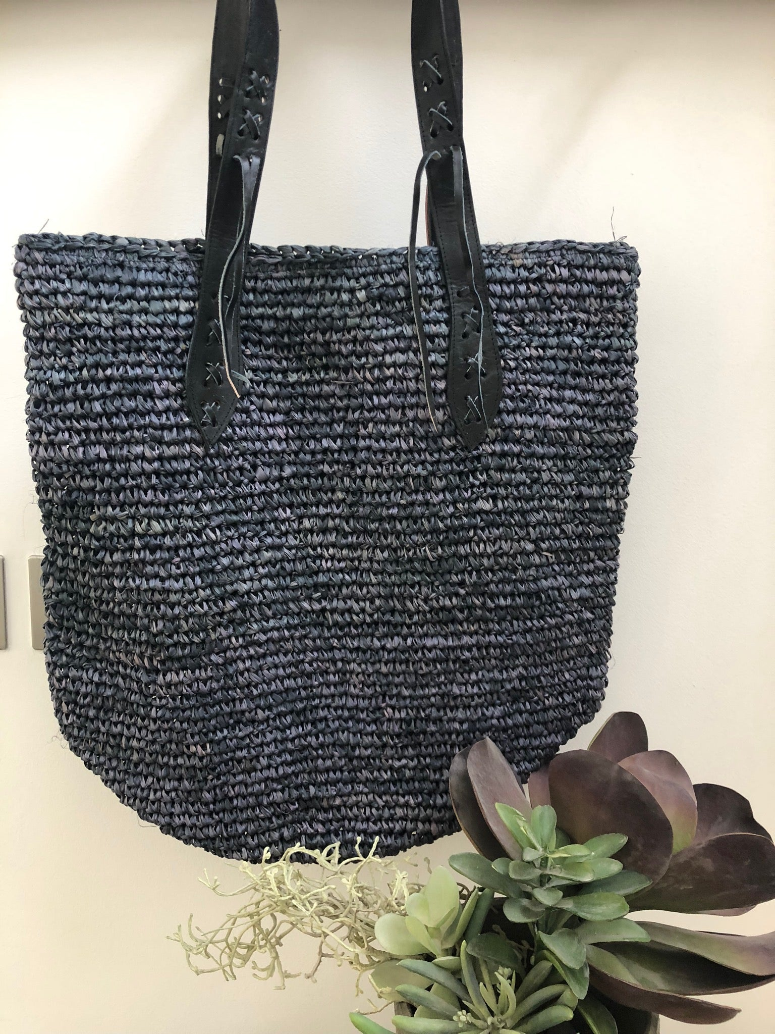 Raffia Tote Leather Handle - Black