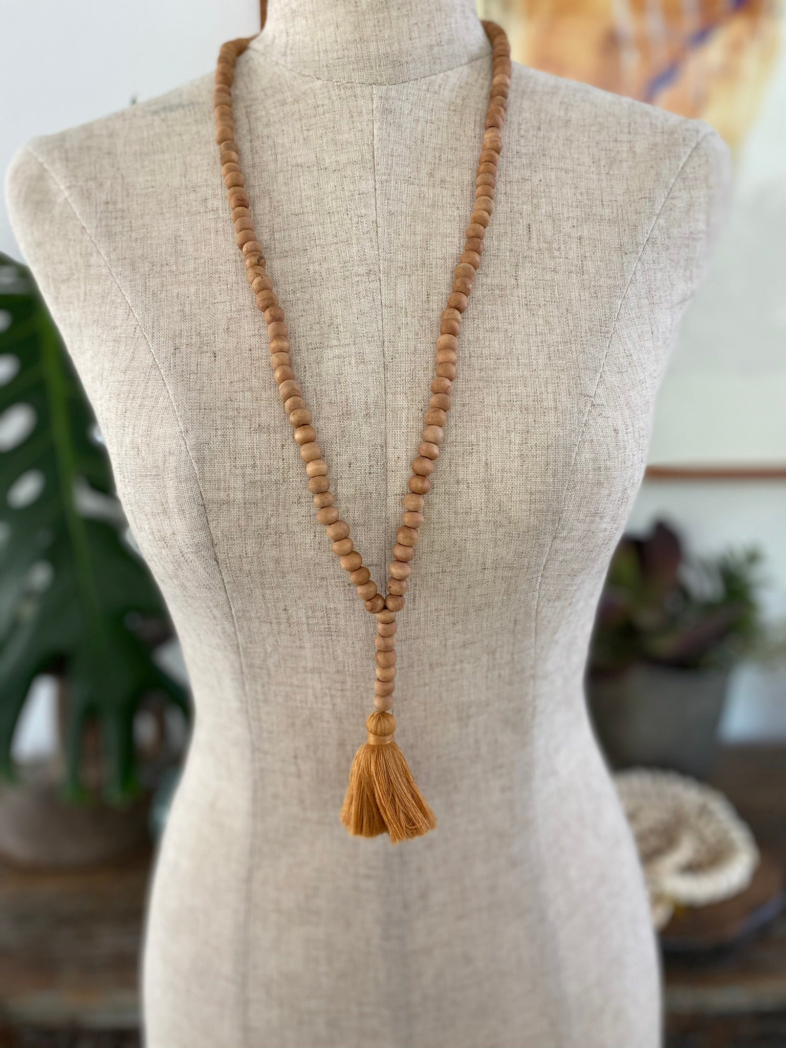 Light Wooden Bead Tassel - Mustard