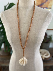 Light Wooden Bead Tassel - Cream