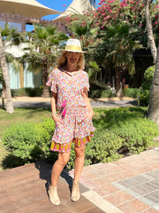 Izzy Dress - Pink and Yellow