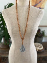 Light Wooden Bead Tassel - Light Grey