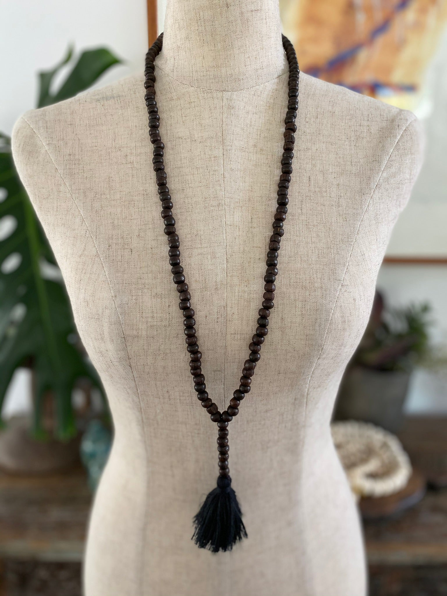 Dark Wooden Bead Tassel - Black