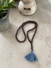 Dark Wooden Bead Tassel - Steel Blue