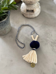 Pompom Tassel Necklace - Navy