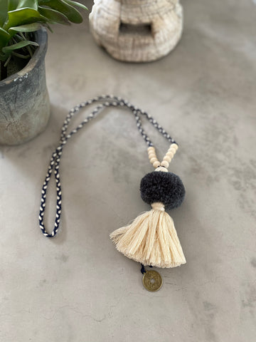 Pompom Tassel Necklace - Grey