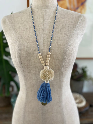 Pompom Tassel Necklace - Steel Blue
