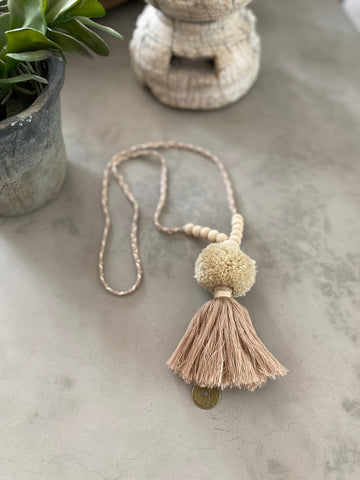 Pompom Tassel Necklace - Natural