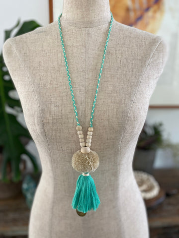 Pompom Tassel Necklace - Mint
