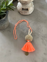 Pompom Tassel Necklace - Bright Coral