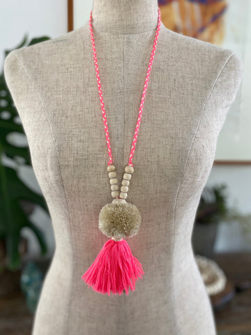 Pompom Tassel Necklace - Bright Pink